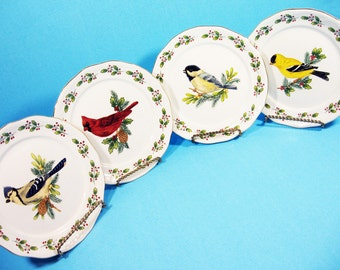 Set of 4 Songbirds Christmas dishes,  gold trim and holly, bread and butter plates, salad plates, Gibson, replacement dishware