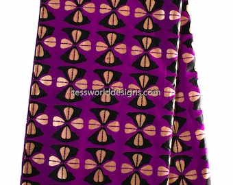African fabric by the yard/ Ankara Print Fabric/ Tribal print/ Purple/Gold Cowrie African Fabric from Africa/ wax print fabric/ TP77B