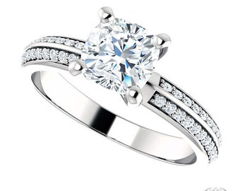 Pascale Cushion Cut Engagement Ring - 1.32ctw Cushion Cut Forever Brilliant Moissanite and Diamond Ring