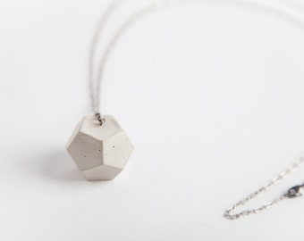 Concrete Jewelry, Concrete Geometric Necklace (Dodecahedron), Cement Jewelry, Modern, Geometric, Minimalist Jewlery, Women's Gift Under 30