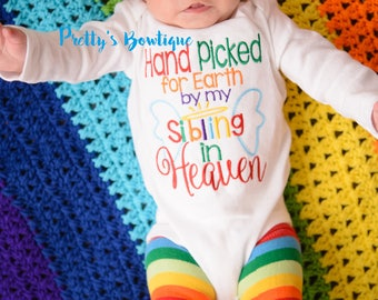 Hand picked for earth shirt or bodysuit-- Baby boys outfit-- Rainbow baby set-- Hand Picked for earth by sibling -- can customize wording