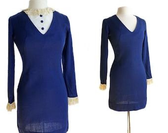 Vintage 60s royal blue mini dress/ Twiggy long sleeve dress/ removable collar school girl dress/ XS