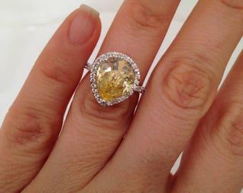 Fancy Yellow Pear Shape, Engagement Ring, 4.00ct pear Shape Halo Ring, Large Pear Yellow Pear Shape, 925 sterling silver diamond simulant