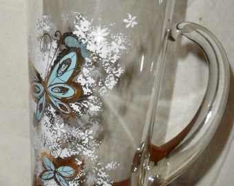 Butterfly Martini Pitcher Vintage Psyche Glass