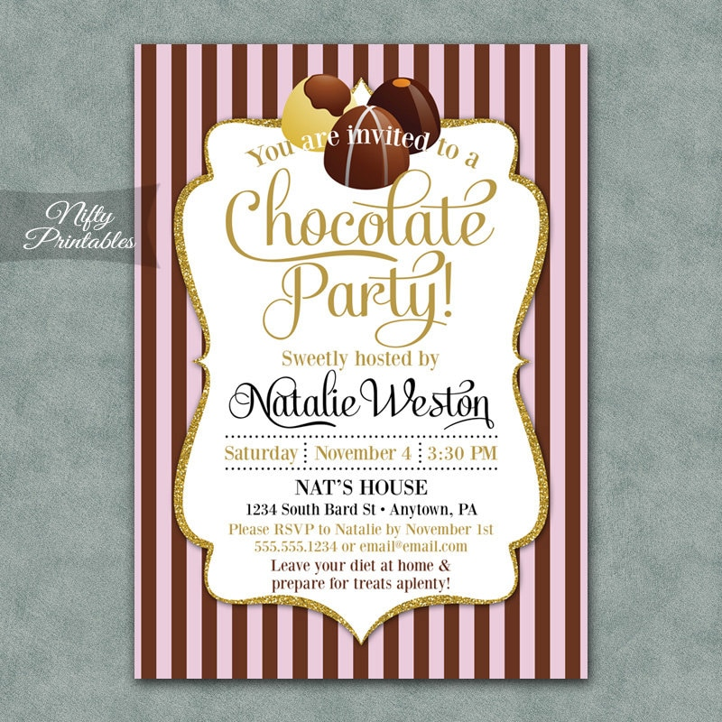 Chocolate Party Invitations Printable Chocolate Invitation - Dessert party invitation template