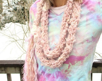 hand knit super soft art yarn extra long loop flower scarf - a lighter shade of pale party scarf
