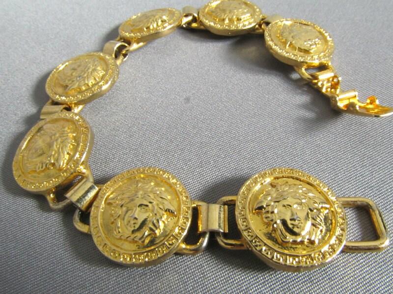 Gianni Versace Vintage Goldplated MEDUSA Heads Link Bracelet