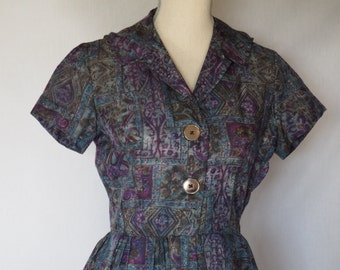 1950s Grey & Purple Day Dress
