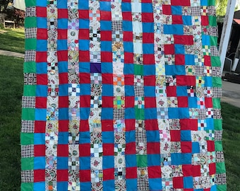 Vintage Machine and Hand Pieced Patchwork and Nine Patch Quilt Top