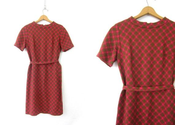 60s Shift Dress Short Sleeve Modern MIDI Dress 1960s Pink & Green MOD Pattern Dress Vintage Retro GOGO Dress Hipster Womens Medium