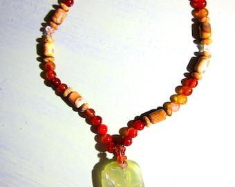 Handmade Jasper Quartz Agate CARVED SERPENTINE Pendant Beaded Necklace