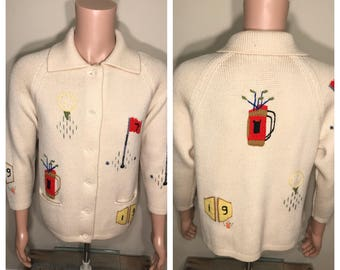 Andreno Vintage sweater // golf all over print // cream color // cardigan sweater // womens large // vintage retro golfing funny ugly