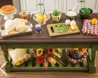 Miniature Thanksgiving Turkey Dinner Prep Table - 1:12 Dollhouse Miniature