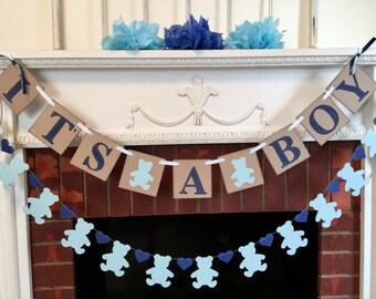 Teddy Bear baby shower decorations - Oh Boy baby shower - it's a boy banner- Teddy Bear baby shower - your color choices