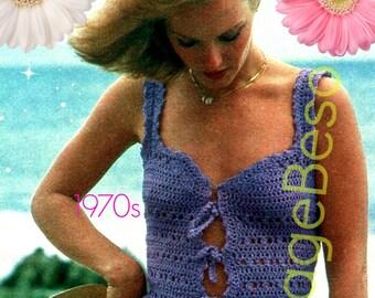 Top Crochet Pattern 1970s Vest Crochet Pattern Boho Clothing • INSTANT DOWNlOAD • PdF Pattern Tiny Little Summer Vest Top Pattern Lilac Lace