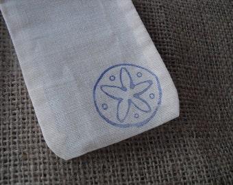 Favor Bags - SET OF 10 3x5 Beach Sanddollar Muslin Favor Bags Gift Bags or Candy Bags - Item 1251