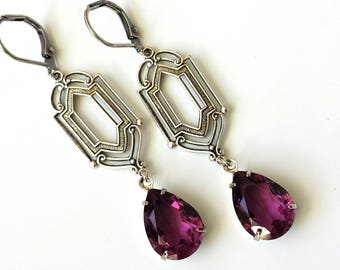 Swarovski Amethyst Crystal Earrings Purple Drop Earrings Vintage Inspired Art Deco Earrings Amethyst Teardrop Earrings Purple Silver Drop