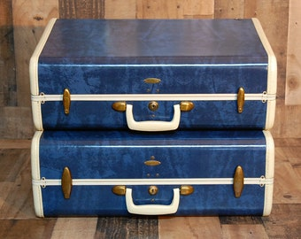 Vintage Samsonite Marble Blue Matching Pair Luggage 1940's, leather trim and leather handles, very good condition, very clean, original key