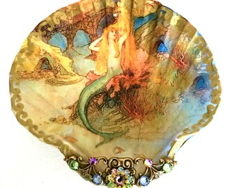 Mermaid Shell Jewelry Dish Trinket Dish Ring Dish Jewelry Storage Collectable shell
