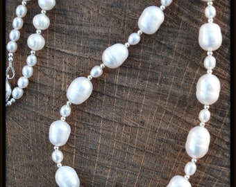 White Pearl Necklace, Freshwater Pearl Necklace, Pearls and Rhinestone Necklace, Large Pearl Necklace, White Pearl Jewelry, Freshwater Pearl