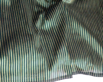 Green and Gold stripes on hand-loom cotton silk, One yard