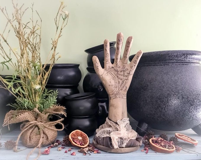 Featured listing image: Palmistry Palm Reading Hand,Romantic Fortune Teller Decor, Gypsy Bohemian Decorative Hand, Primitive Decorative Chiromancy Palm Reader Hand