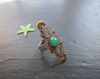 BOHO CRHYSOPRASE RING, sterling silver ring, size 8 1/2, winter ring, one of a kind, ethnic ring