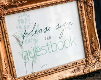 """Floral Wedding Sign, Rustic Reception Sign, Cards and Gifts Table, Unplugged Wedding Sign, Green - """"Graceful Botanic"""" Guestbook Sign"""