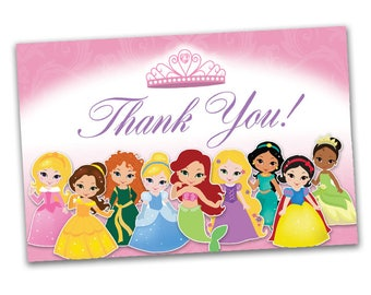 Princess Thank You Notes - 4x6 flat or 4x6 folded