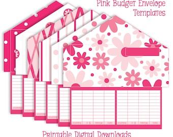 Printable Cash Envelope System - Set of 6 Envelope Patterns - Pretty Pink Patterns - Instant Download