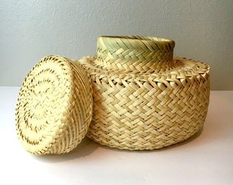 Vintage Rattan Basket with Lid