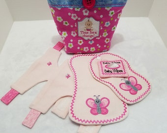 SALE *** 20% OFF *** Baby Doll Diaper Bag with Bib, Burp Cloth, 2 Diapers and Wipes Case