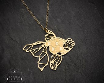 Gold fish necklace geometric fish necklace fish jewelry gift for pisces ariel gift necklace pisces jewelry fish pendant geometric necklace