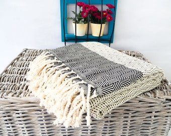 HQ Black Turkish Towel,Thickest Cotton Towel(20.81Oz)Black Beach Towel,Bath Towel,Towel,Hammam Towel,Soft Turkish Towel,Turkish Blanket