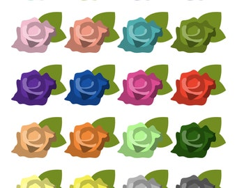 Roses - Rainbow Flowers - Digital Clip Art Set - 300 DPI - Instant Download