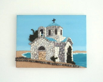 Acrylic Painting, Artwork with Seashells, Chapel by the Sea in Seashell Mosaic on Sand, Mosaic Art, 3D Art Collage, Wall and Home Decor