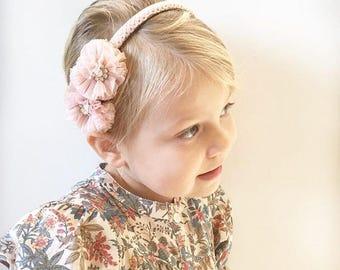 tutu flower headband. tulle flower headband. girls headband. ladies headband. tulle and sparkle headband. flowergirl accessory.