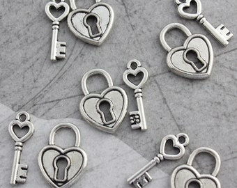 5 Set Antique Silver Vintage Style Heart Lock & Key Charms