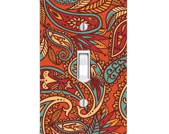 Henna Mehndi Paisley orange Light Switch Cover, Home Decor, Wall Decor, Lighting, Bedroom Decor, Kitchen Decor, Single light, Double Light