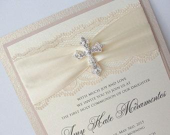 Lace Wedding Invite, Lace Wedding Invitation, Lace Invite, Vintage Invitation,  Communion Invite, Baptism Invitation, COMMUNION - TRIPLE