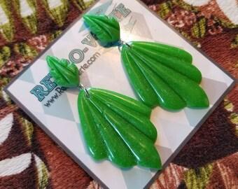 1930s Art Deco Wing Leaf Drop Dangle Earrings Bakelite Replica Tiki Shell
