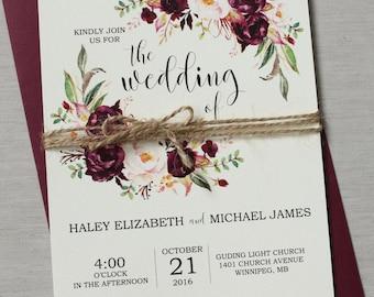Marsala Wedding Invitation Suite, Burgundy Pink,  Bohemian Wedding Invite Set, Rustic Floral Wedding Invitation, Boho Chic