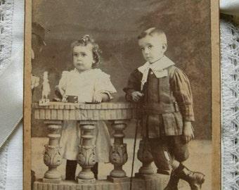 Vintage old photo.Vintage children.Sepia.Ancient photo.Uruguay.Vintage toys.Black and white.1910s.Ephemera.To frame.Old toys.