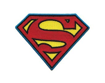 Superman Iron On Applique, Superman Logo, Superman Patch, Genuine DC Comics Iron On Patch, Superman Applique, Embroidered Patch, 3x3.75