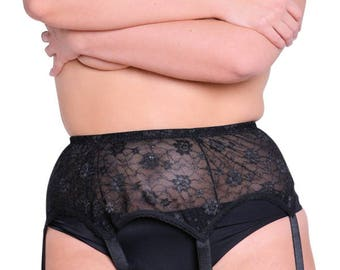 Plus Size Lace Suspender Belt In Black From Voluptua UK 14-30 US 12-28 EU 42-60
