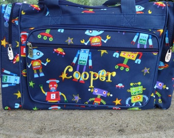"Personalized 20"" Duffel Bag,  ROBOTS Duffel Bag,   Boys Duffel Bag,  ROBOT Bag Luggage"