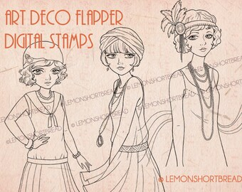 Digital Stamps Art Deco Flapper Girls Set, Digi Download Coloring Pages, Vintage Fashion, Scrapbooking Supplies, Clip Art