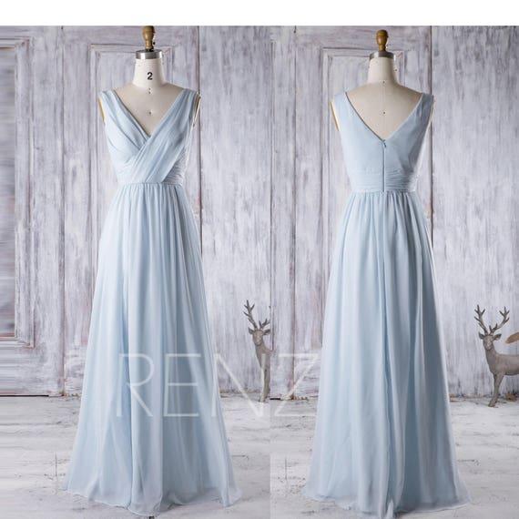 Bridesmaid Dress Light Blue Chiffon DressWedding DressRuched