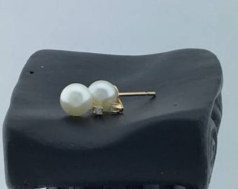 14K Yellow Gold Pearl Post Earrings with a Diamond Chip