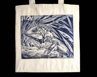 Iguana, original drawing, engraving etching on fabric, unbleached cotton bag, shopping bag, beach tote bag, man, woman